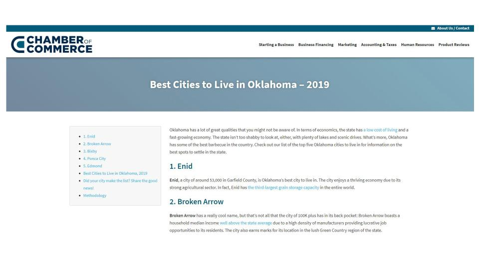 Enid Number One City in Oklahoma to Live In 2019