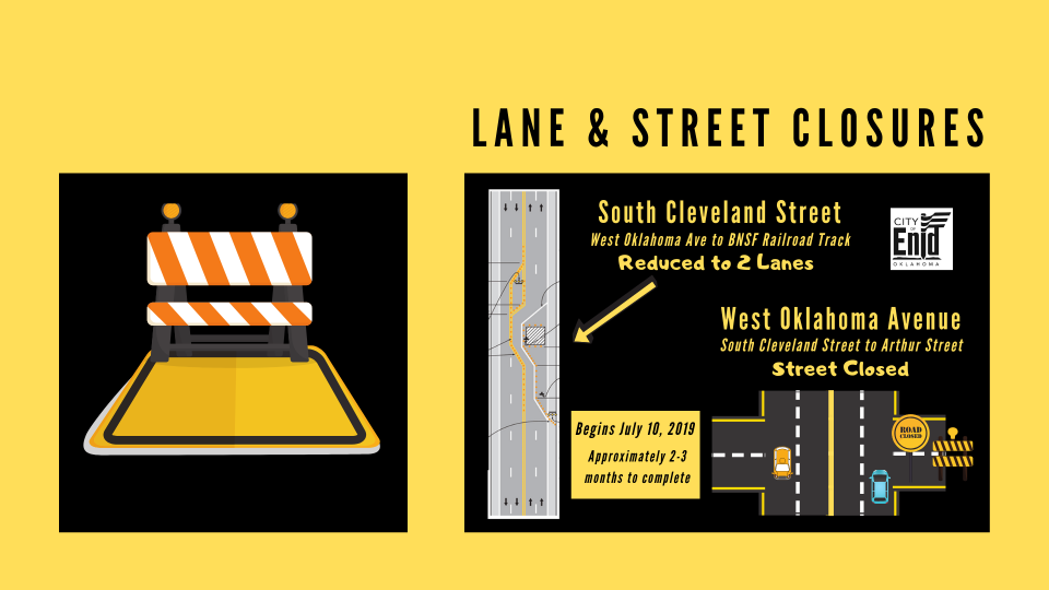 Lane and Street Closure at Cleveland and Oklahoma Intersection Map