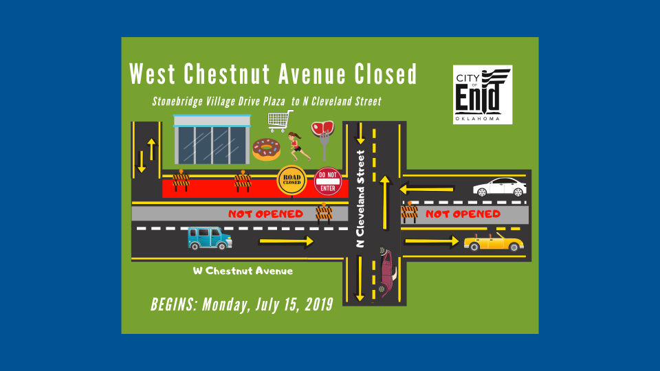 Map describing the closure on West Chestnut