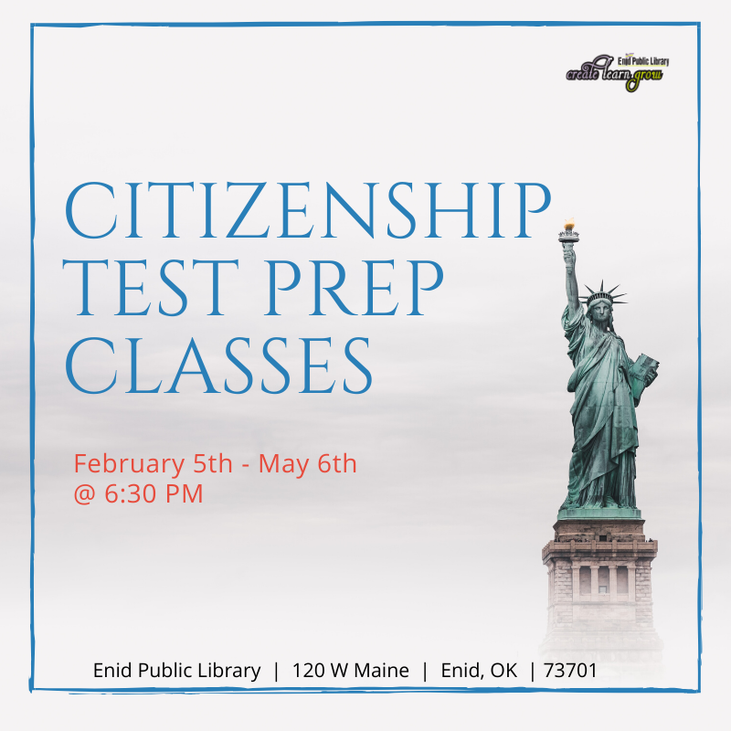 Enid Public Library offering Citizenship Test Prep Classes